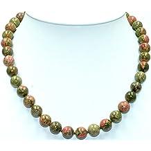 Epidot /Unakit Halskette Verschluss 925er Sterling-Silber Nr. 1371H.
