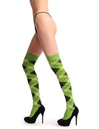 Argyle Green, Light Green, Dark Green - Vert Opaque Chaussettes Montantes Taille Unique (37-41)