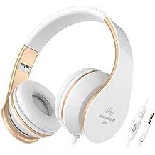 Sound Intone I65 Auriculares de la música del receptor de cabeza auriculares grandes cancelación de ruido, control en linea del volumen del micrófono para dispositivos iPhone y Android (blanco y oro)