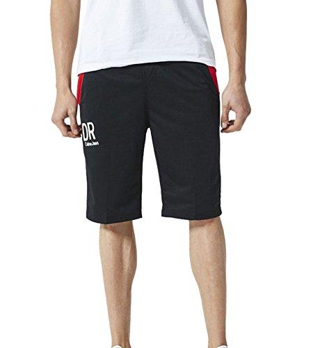 GUOCU Herren Sommer Shorts Kurzhose Sporthose Jogginghose Bermudas Fitness Casual Herren Cargo Shorts Cargohose L Schwarz