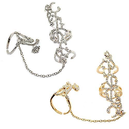 Eastever Persönlichkeit 2PCS Set Kette Link Ring, Hohle Diamant Rose Blume öffnen Verstellbarer Ring, Mehrere Finger Stack Knuckle Band Crystal Set Womens Modeschmuck - (Gold & Silber Set)