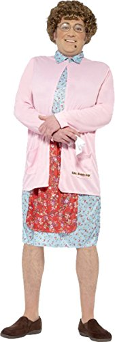 Herren Erwachsene Fancy Dress Halloween Party Frau braun gepolstert Comedy Kostüm Outfit Gr. Brust 97 cm- 102 cm, rose