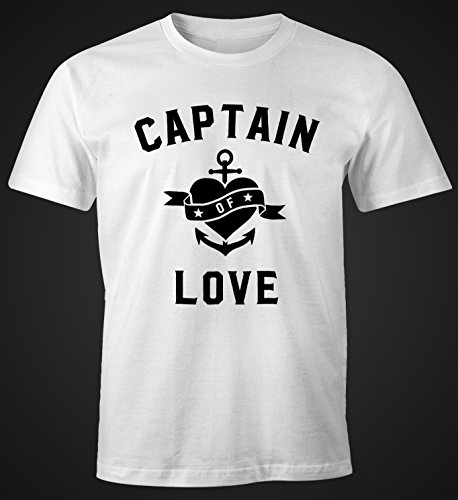 Herren T-Shirt Captain of Love Disco Feiern Muscle Shirt Moonworks® Captain of Love weiß