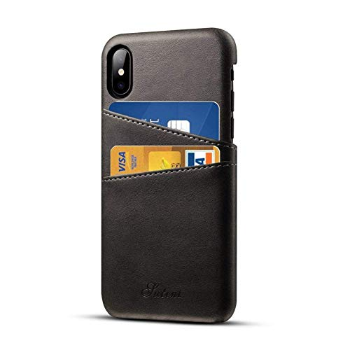 Pierre Cardin Case iPhone X iPhone XS Leder Hülle mit Kartenhalter, Airert Prämie Jahrgang Brieftasche, Ultra Schlank Zurück Abdeckung kompatibel Apple iPhone X/XS - Schwarz Iphone Executive Leather Case