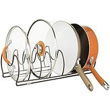 mDesign Soporte para sartenes, tapas y cacerolas – Compacto organizador de tapas de ollas para