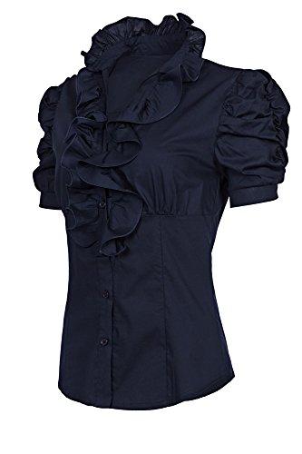 Laeticia Dreams Damen Bluse Kurzarm S M L XL XXL XXXL, Farbe:Marineblau;Größe:38 (Stehkragen Shirt Rüschen)