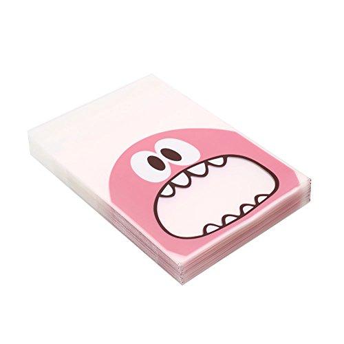 Keks-Taschen, 100 Stück Cookie Keks Plastiktüten Monster Geschenk Selbstklebende Snack Bakken Pink