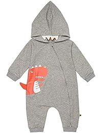 EDOTON Mameluco con Capucha para Bebé Niños Chicas Mono Algodón Onesies Manga Larga Dinosaurio Impresión Bebé Bodysuit 0-18M