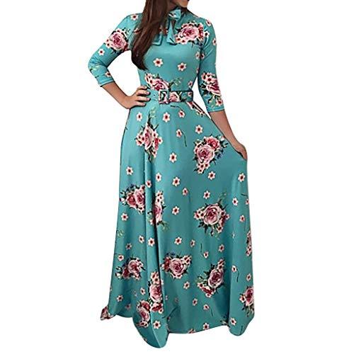 ❤Loveso❤ Kleider Damen Elegant Maxikleid Langarm Bohemian Maxikleid Blumendrucken Casual A-Linie Kleid Elegante Party Kleid mit Gürtel