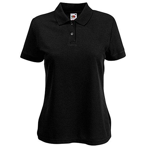 Fruit of the Loom Damen Modern Poloshirt Gr. X-Large, schwarz (Pocket Knit Striped Shirt Pique)
