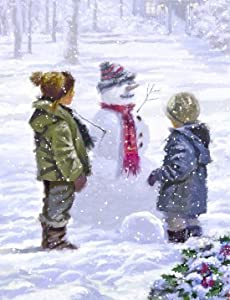 Box of 12 selected Christmas Cards - Children with Snowman