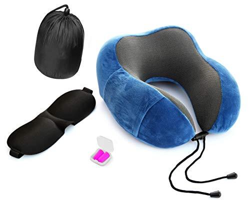 Almohada viaje de TOHTEM Almohada cervical incluye antifaz para dormir y tapones oidos! Cojin cuello para avión y coche Con bolsa viaje y funda desmontable ¡Listo para viajar!…