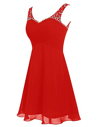 Dresstells Robe courte de soirée de cocktail Robe de demoiselle d'honneur avec paillettes Rouge