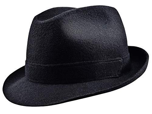 Sterkowski Wolle Genähter Hut Trilby Blues Brothers Vintage Style 56 cm Schwarz