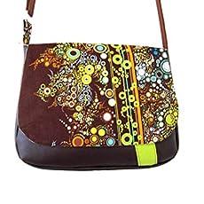 sac besace femme marron et vert motifs bulles, sac bandouliere vegan, sac a. fa39d6234e7