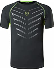 Jeansian Hombres Verano Deportes Wicking Transpirable Quick Dry Short Sleeve T-Shirts Tops Running Training Tee LSL189