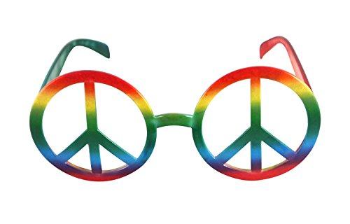 Objektiv Retro Hippie Regenbogen Peace Zeichen Gläser keine 1970's Party Sonnenbrille