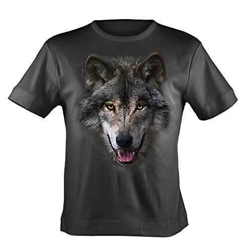 Bushfire T-Shirt Wolf Head schwarz Schwarz