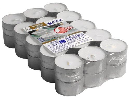 30 Müller - Teelichter, 8 Stunden Brenndauer, Weiß, Gastropack, Markenware