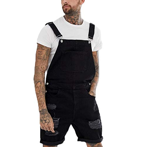 Auiyut Herren Jeans Latzhose Jumpsuit Kurze Overall Shorts Lightwash Hosenträger Kurze Retro Short Denim Latzhose Mode Zerrissene Loch Kurze Jeans Overall -