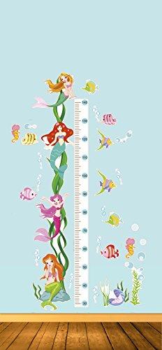 Jocca Höhe Aufkleber/Mermaid Form Wand Kinder Messlatte, Mehrfarbig, 70x 50.5x 0,1cm