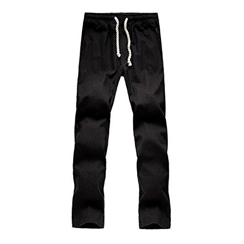 PENGYUE Freizeithosen für Herren Outdoor Hose Elastischer Bund Strandhosen Beiläufige Hosen Einfarbige Hosen Sporthose Leinenhosen - Hanf Hosen Für Männer