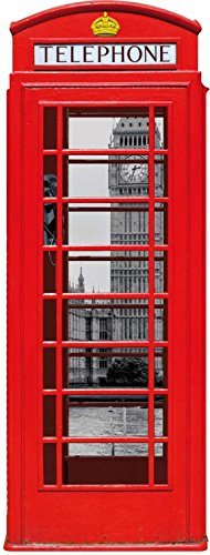 Londra - cabina telefonica rossa con big ben e tamigi, collage sticker adesivo da parete (120 x 40cm)
