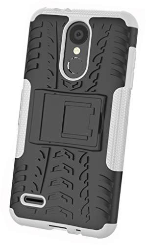 Tianqin Funda LG K8(2018), Ultra Delgado Anti Caída Protección Dual Layer Bumper 2 in1 Híbrida Rugged Case Antideslizante Soporte Cover para LG K8(2018) - Blanco