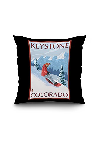 Keystone, Colorado - Snowboarder (20x20 Spun Polyester Pillow Case, Black Border)