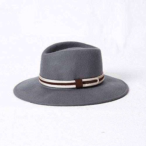 Männer Hüte Für Jüdische (ALWLJ Herbst Winter mit breiter Krempe Fedora Männer braun Jazz hat flache Krempe Filzhut Filzhut Bowler für Frauen jüdischen Hut, Grau)