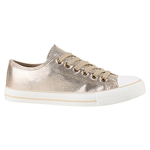 Damen Schuhe Sneakers | Turnschuhe Freizeitschuhe | Low Sneaker | Übergrößen | Prints Glitzer Denim Gold Camiri