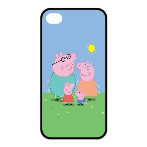 Peppa Pig iphone 4s Cases,Hard Silicone+PC Material, Case for iPhone 4 4s,Rubber Case Cover