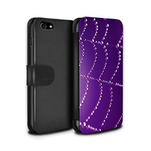 Stuff4 Coque/Etui/Housse Cuir PU Case/Cover pour Apple iPhone 7 / Vert Design / Toile d'araignée Perles Collection Pourpre