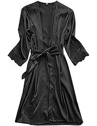 Kinlene Lencería Sexy Vestido de Traje de Encaje de Seda de Las Mujeres Babydoll camisón Ropa de Dormir Kimono
