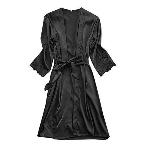 MIRRAY Damen Dessous Strickjacke Seide Spitze Robe Kleid Babydoll Nachthemd Nachtwäsche Kimono