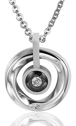 Donna Ciondolo Collane acciaio nero anelli Cubic Zirconia di AieniD - Rosa Claddagh Pendente