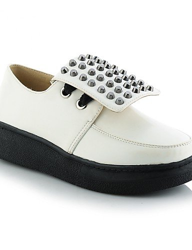 ZQ gyht Scarpe Donna - Stringate - Casual - Creepers - Plateau - Finta pelle - Nero / Bianco , white-us10.5 / eu42 / uk8.5 / cn43 , white-us10.5 / eu42 / uk8.5 / cn43 white-us9.5-10 / eu41 / uk7.5-8 / cn42