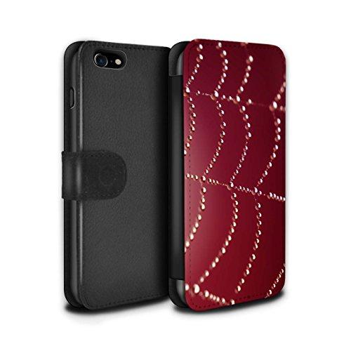 Stuff4 Coque/Etui/Housse Cuir PU Case/Cover pour Apple iPhone 7 / Vert Design / Toile d'araignée Perles Collection Rouge