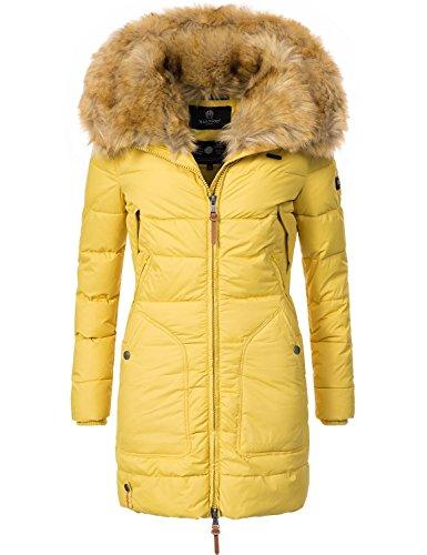 Marikoo Damen Winter-Mantel Steppmantel Knuddelmaus (vegan hergestellt) Gelb Gr. S