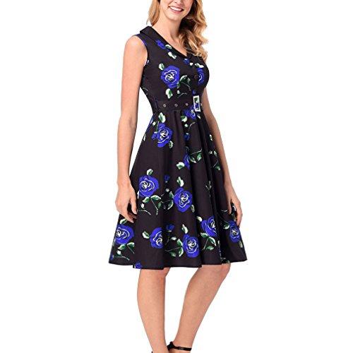 Kleid der Frau Damen Kleider Blumen V-Ausschnitt ärmellose Sommer High Rise Party / Abend sportlich anspruchsvolle Street Chic knielanges Kleid ( Color : Blue , Größe : XXL ) (Kleid Abend Schaufensterpuppe)