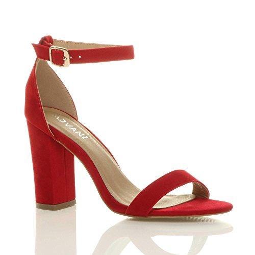 Ajvani Femmes haute large talon chaussures bout ouvert sandales à lanières pointure Rouge daim
