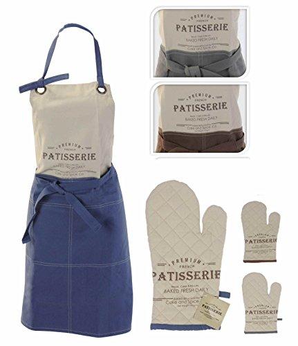 2-teiliges Küchenschürzen Set aus 100% Baumwolle, Koch / Back Schürze (84 x 60cm) & passender Topf / Back / Ofen Handschuh, erhältlich...