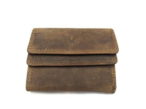 Echt Leder MINI Geldbörse Geldbeutel Portemonnaie, Vintage Braun,