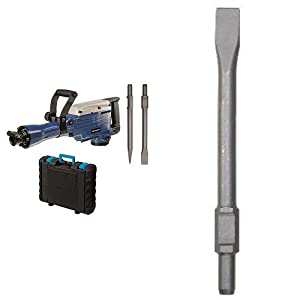 Einhell BT-DH 1600 – Martillo demoledor (1600 W, 230 V, 1500/min¯¹ impactos, potencia del impacto de 43 J, cable de 200 cm, mandril SDS-HEX, peso de 14,7 kg) color azul + Cincel hexagonal para martillo demoledor (30 mm)