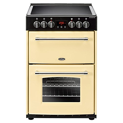Belling FARMHOUSE 60E CREAM 600mm Double Electric Cooker Ceramic Hob Cream Best Price and Cheapest