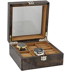4Paar Manschettenknöpfe und 4-teiliges Uhren-Sammler Box in dunklen Wurzelholz von aevitas