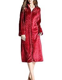 Tallas Grandes para Mujer Calor del Franela Cremallera Invierno Albornoz Pijama Largo Chic Ropa Exquisito Bordado
