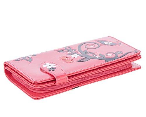 Shagwear portafoglio per giovani donne , Large Purse : Diversi colori e design : ciliegio fucsia/ Cherry Tree