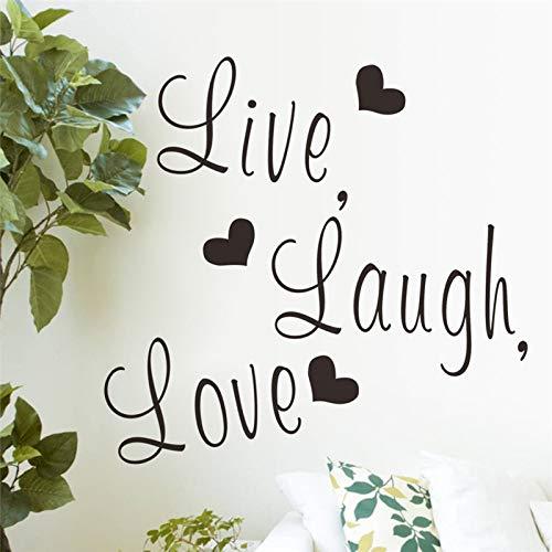 XCGZ Stickers muraux Vivez Rire Lettres d'amour Vinile Stickers Muraux pour Appareil Photo Numérique pour Enfants Et Femmes pour Adultes