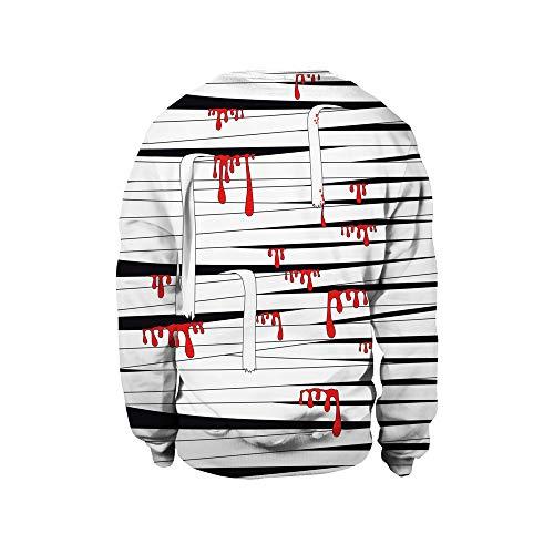 Binggong Herren Shirt,Räumungsverkauf!Gut aussehend Herren Sweatshirt Mode Fit Rundhals 3D Print Halloween Langarm Sweatshirt T-Shirt Top